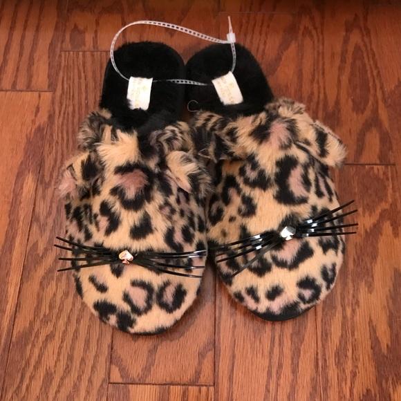 74e1a32917db kate spade Shoes | Bunny Leopard Print Fuzzy Slippers 6 | Poshmark